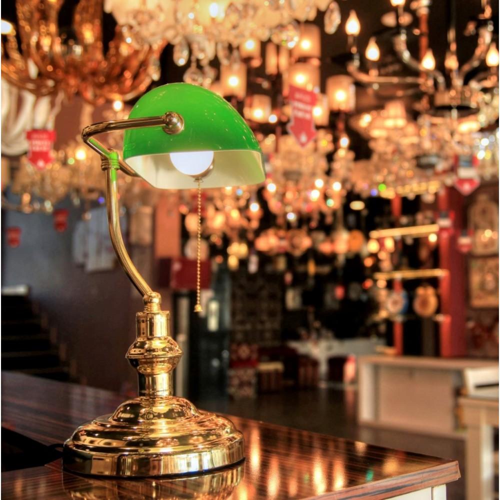 Yeşil Banker Klasik Masa Lambası