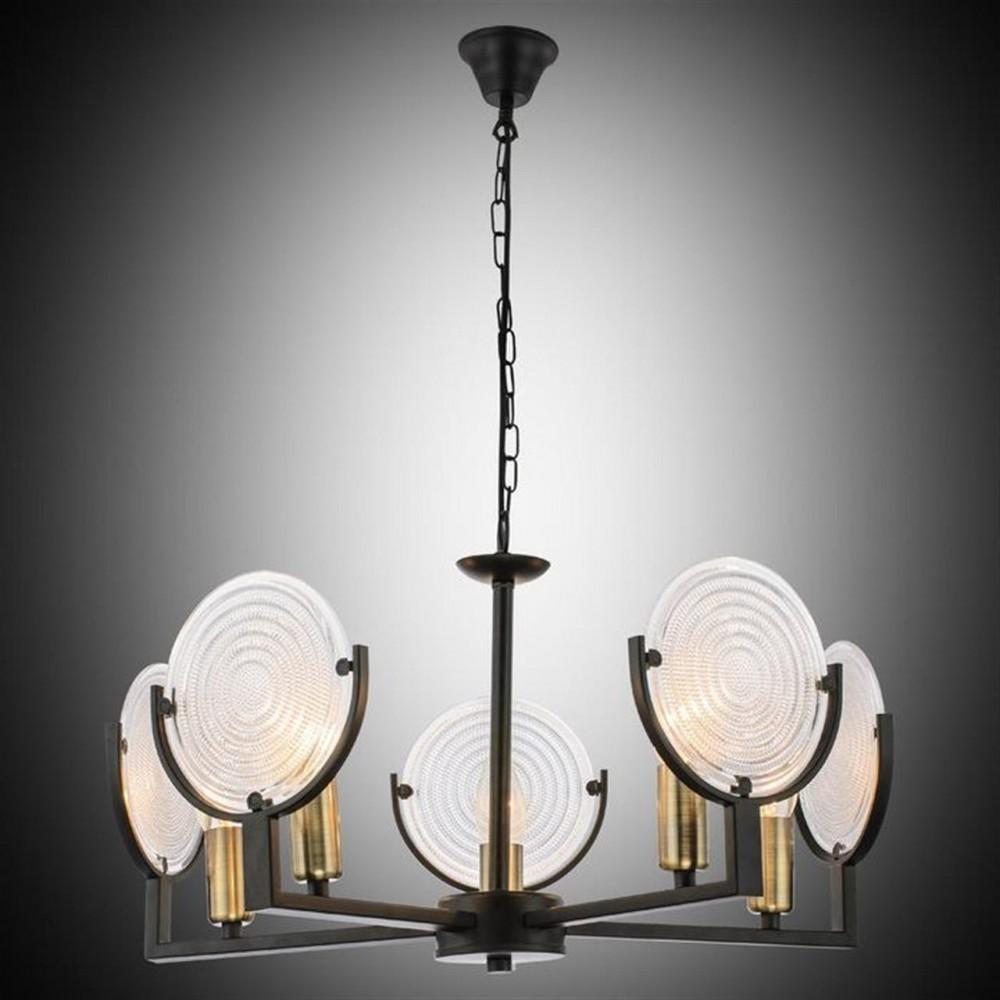 Beşli Eskitme-Siyah Dekoratif Cam Detaylı Modern Sarkıt Avize - 51807-01-P05-BK