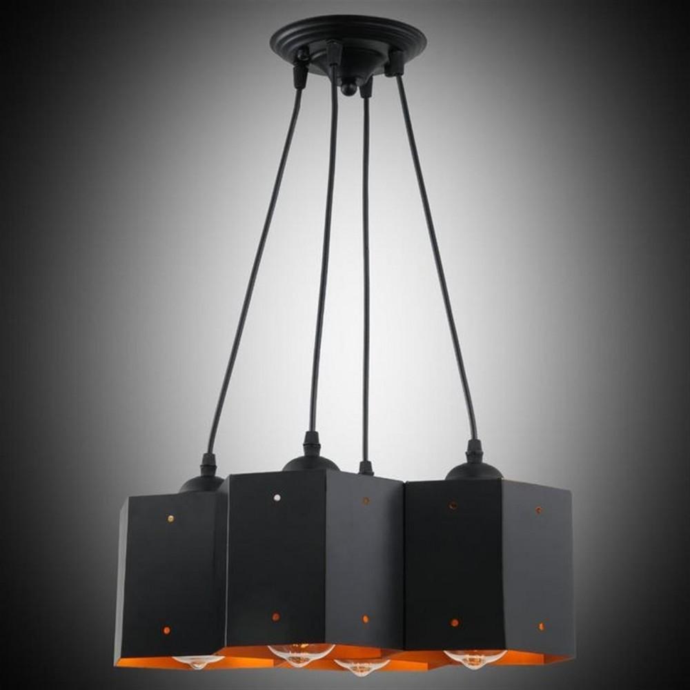 Desen 4'Lü Siyah Renk Modern Sarkıt Avize - 80154-02-P04-BK