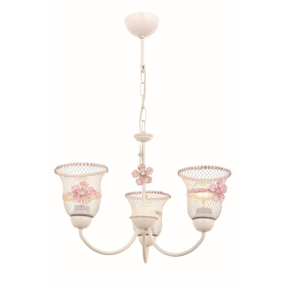 Avonni Üçlü Pembe-Krem Boyalı Çiçekli Modern Avize  av-1696-3pm