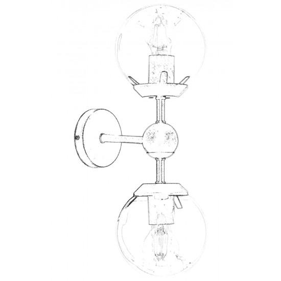 Avonni AP-62076-02 Eskitme Kaplama Aplik E27 Metal 15x25cm