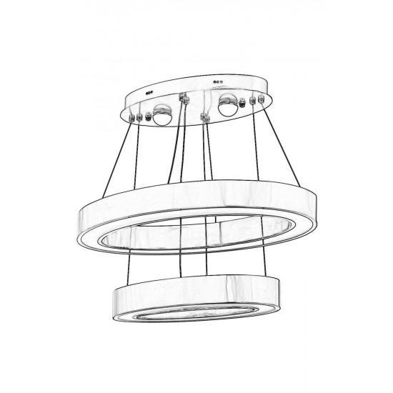 Avonni AV-1573-N60X30-ELLIPSE Nikel Kaplama Modern Avize LED Metal Pleksi 60x30cm