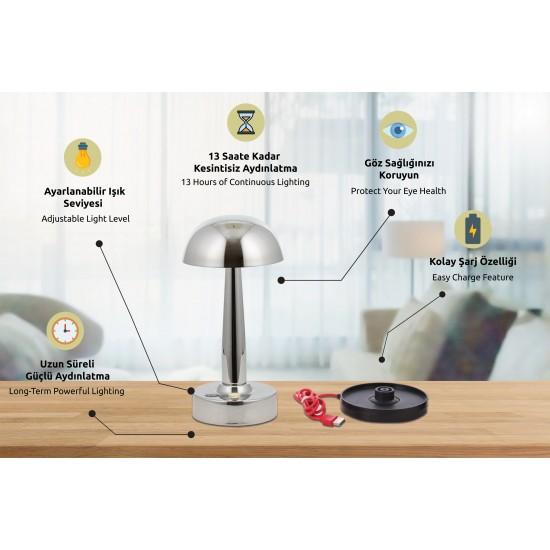 Avonni ML-64004-K Krom Kaplama Masa Lambası LED Metal Pleksi 12cm