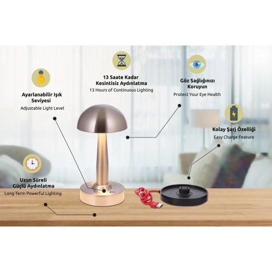 Avonni ML-64004-N Nikel Kaplama Masa Lambası LED Metal Pleksi 12cm