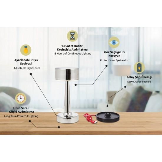 Avonni ML-64005-K Krom Kaplama Masa Lambası LED Metal Pleksi 11cm