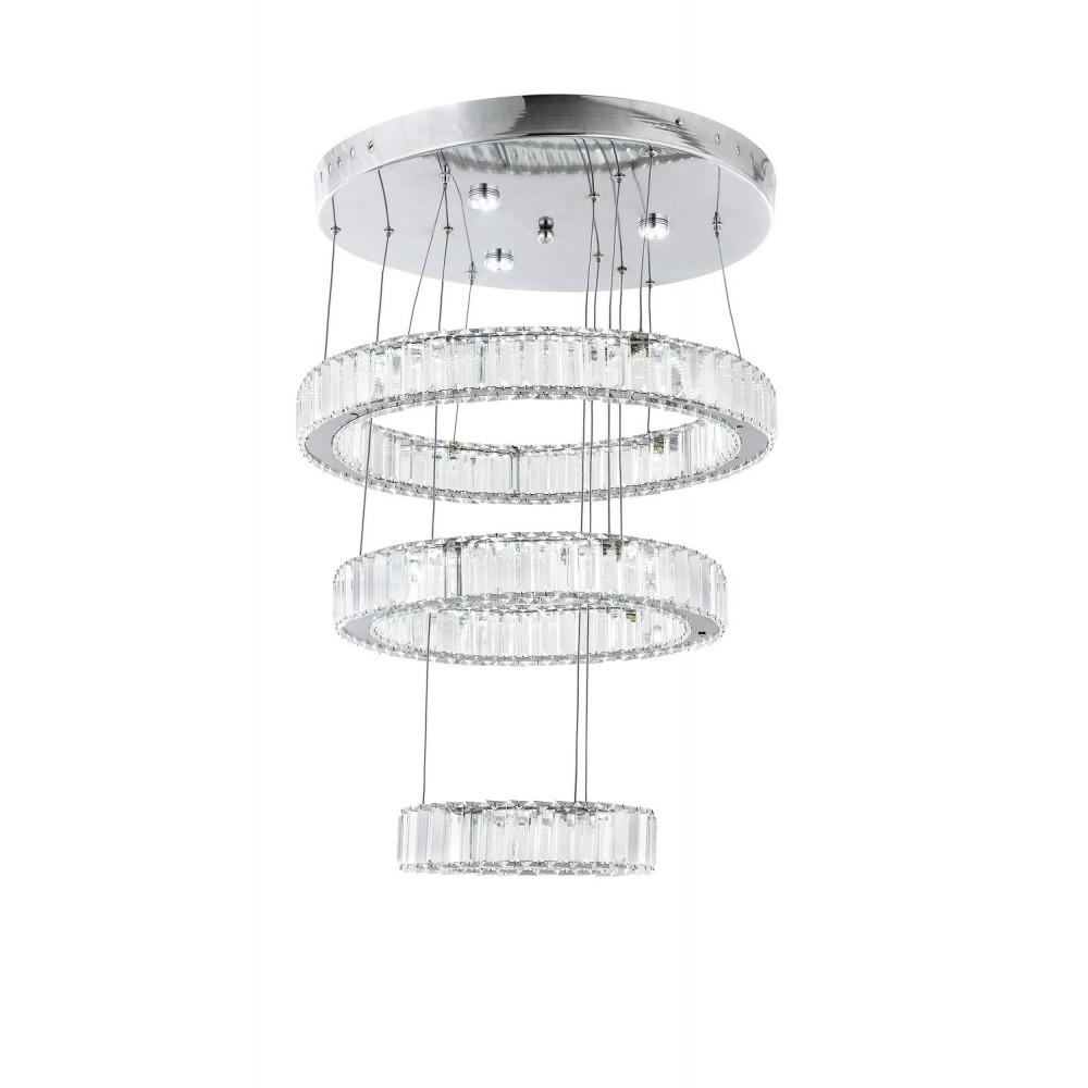 Avonni AV-1546-50-40-25 Krom Kaplama Üç'lü Metal, Kristal Modern Avize