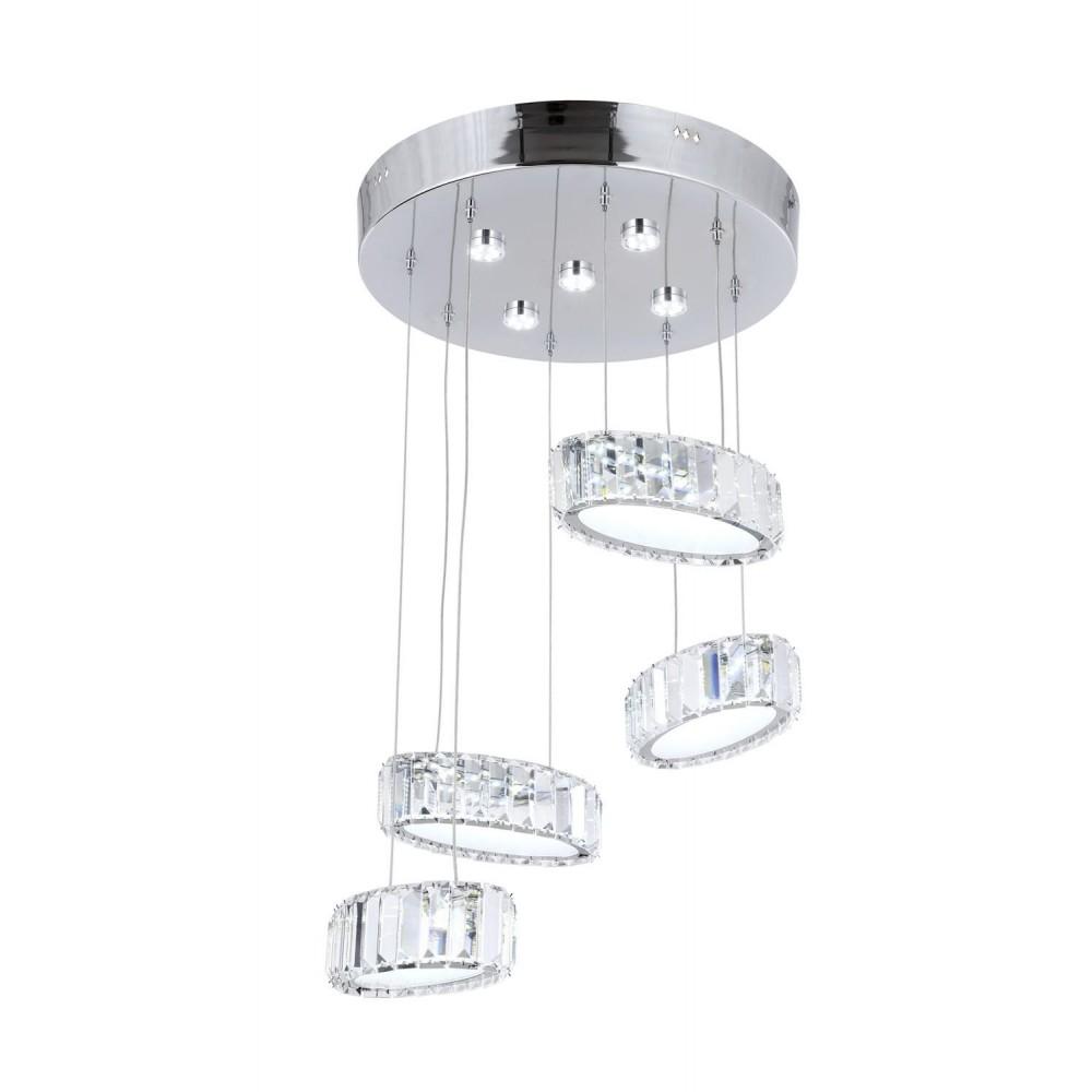 Avonni AV-1547-4KT Krom Kaplama Dört'lü Metal, Kristal Modern Avize