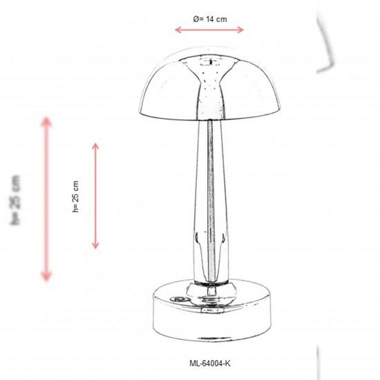 Avonni ML-64004-K Krom Kaplama Şarjlı LED Masa Lambası