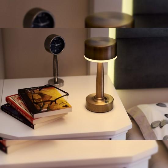 Avonni ML-64005-E Eskitme Kaplama Şarjlı LED Masa Lambası